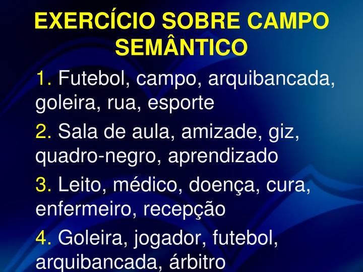 EXERCÍCIO SOBRE CAMPO SEMÂNTICO