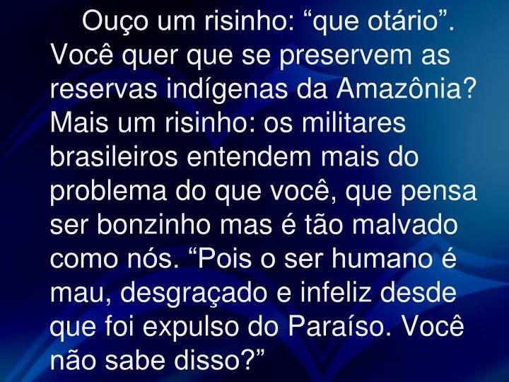 """Ouço um risinho: """"que otário"""". Você quer que se preservem as reservas indígenas da Amazônia? Mais um risinho: os militares brasileiros entendem mais do problema do que você, que pensa ser bonzinho mas é tão malvado como nós. """"Pois o ser humano é mau, desgraçado e infeliz desde que foi expulso do Paraíso. Você não sabe disso?"""""""