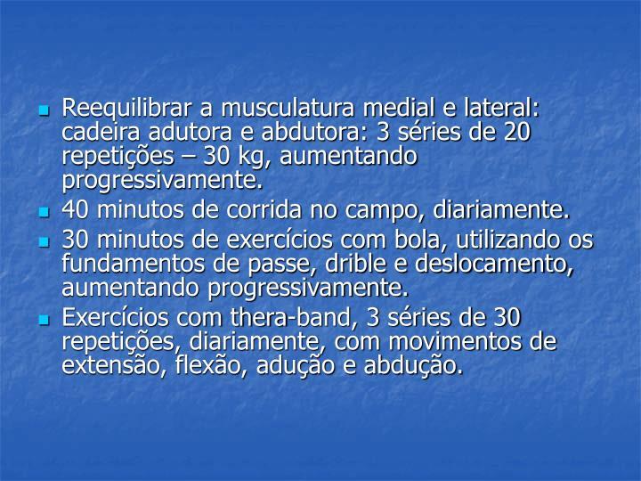 Reequilibrar a musculatura medial e lateral: cadeira adutora e abdutora: 3 séries de 20 repetições – 30 kg, aumentando progressivamente.