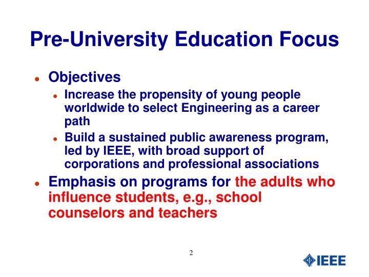 Pre-University Education Focus