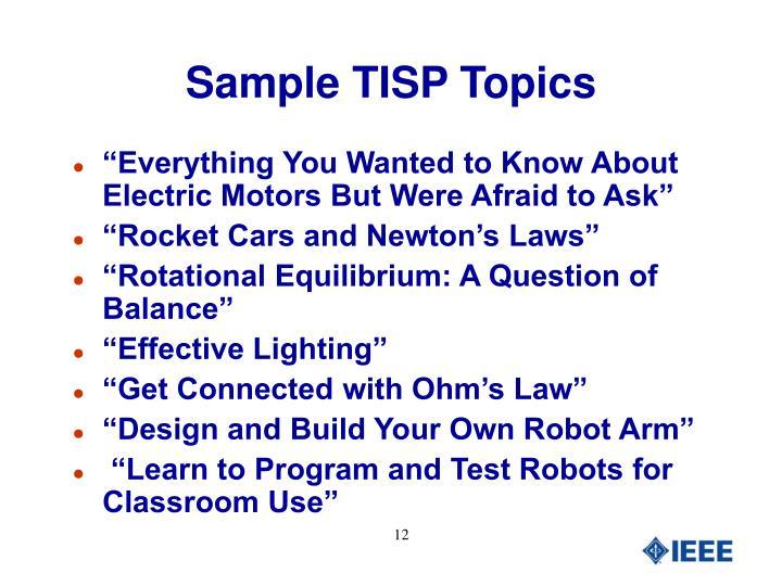 Sample TISP Topics