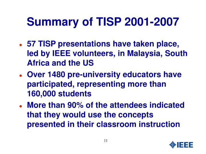 Summary of TISP 2001-2007