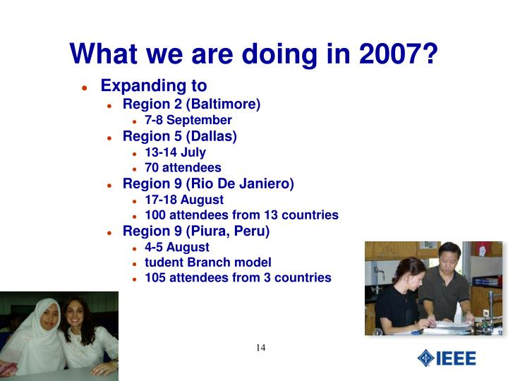 What we are doing in 2007?