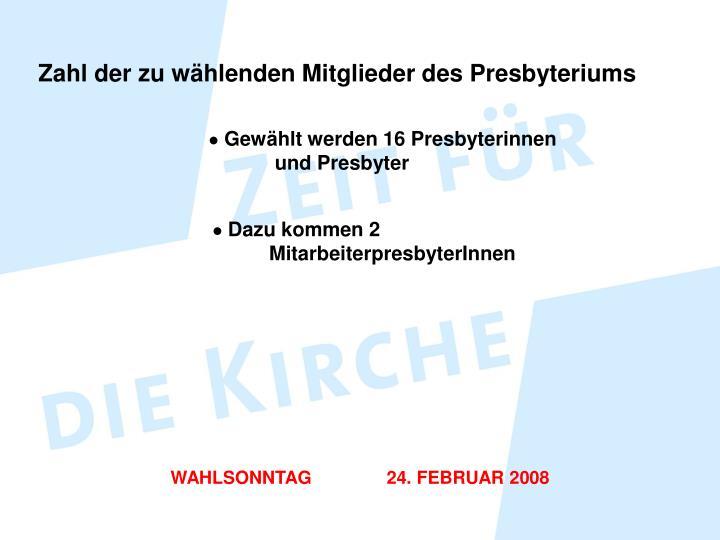 Zahl der zu wählenden Mitglieder des Presbyteriums