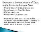 example a bronze statue of zeus made by me to honour zeus
