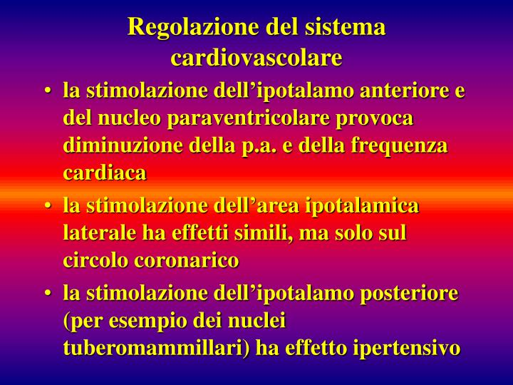 Regolazione del sistema cardiovascolare