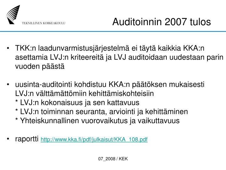 Auditoinnin 2007 tulos