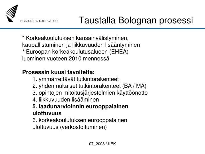 Taustalla Bolognan prosessi