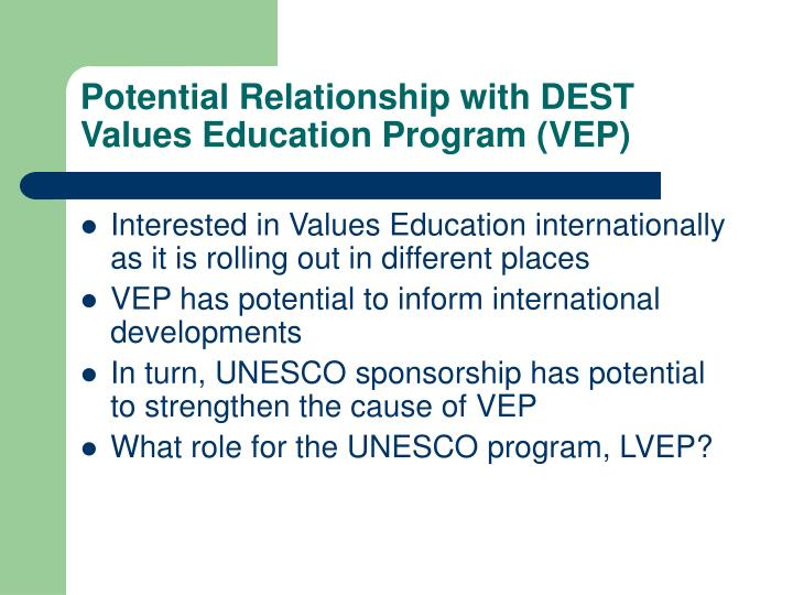 Potential Relationship with DEST Values Education Program (VEP)