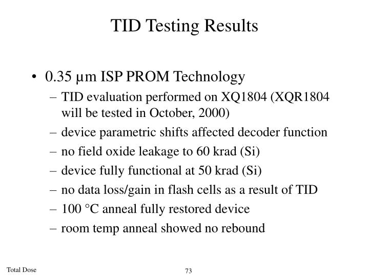 TID Testing Results