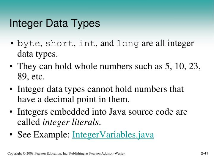 Integer Data Types