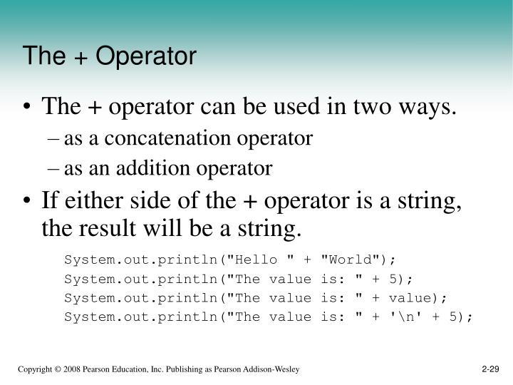 The + Operator