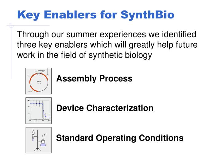 Key Enablers for SynthBio