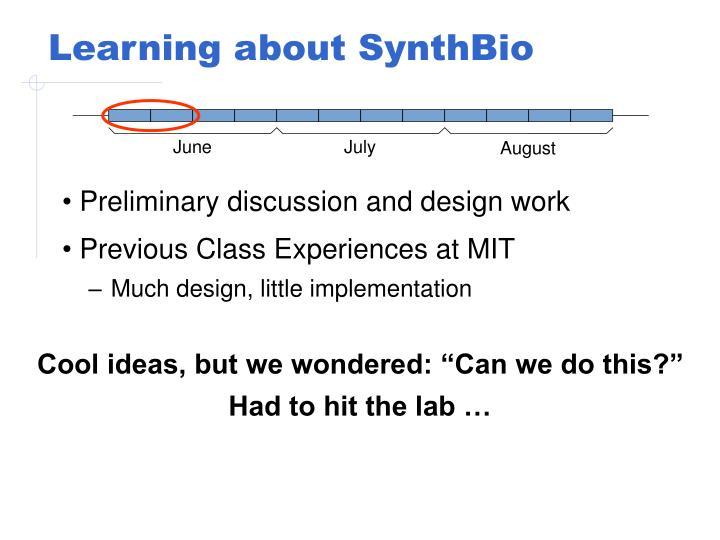 Learning about SynthBio