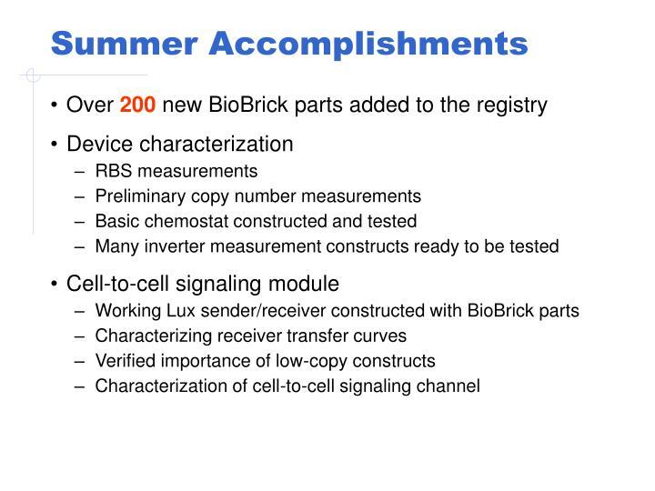 Summer Accomplishments