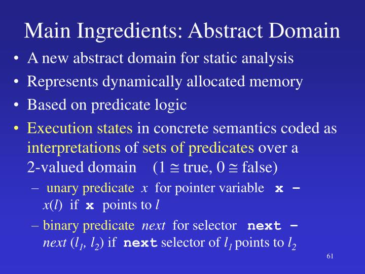 Main Ingredients: Abstract Domain