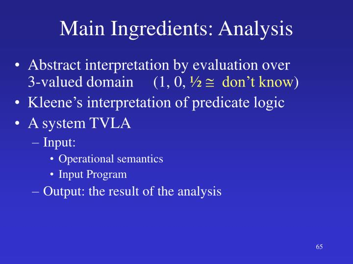Main Ingredients: Analysis