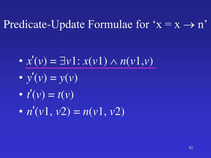 Predicate-Update Formulae for 'x = x