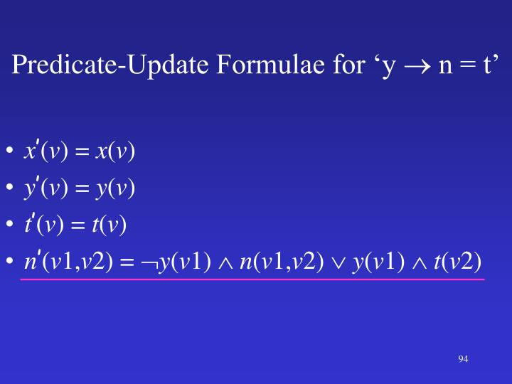 Predicate-Update Formulae for 'y