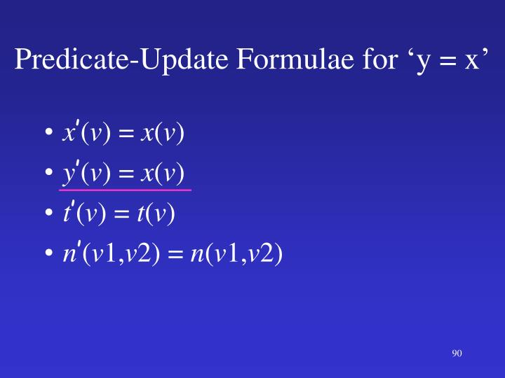 Predicate-Update Formulae for 'y = x'
