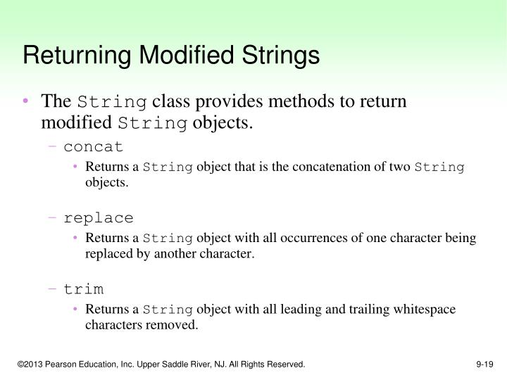 Returning Modified Strings