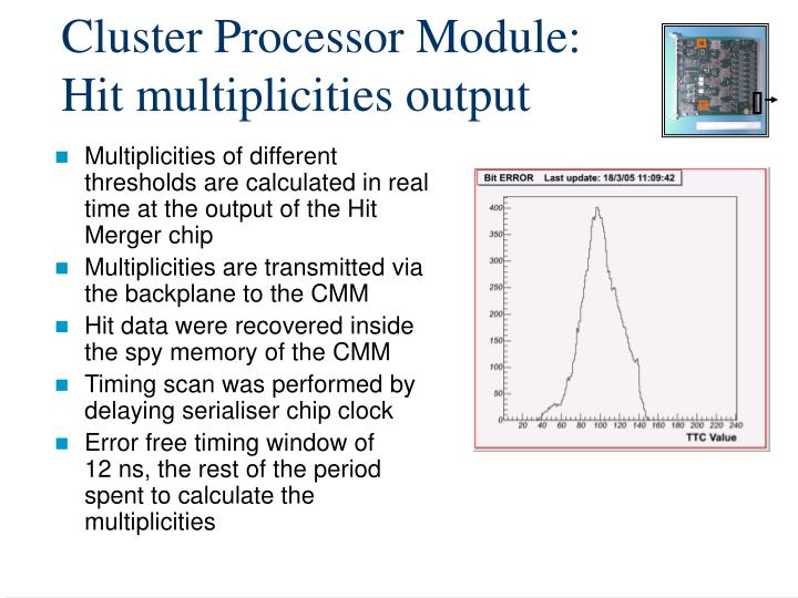 Cluster Processor Module: Hit multiplicities output