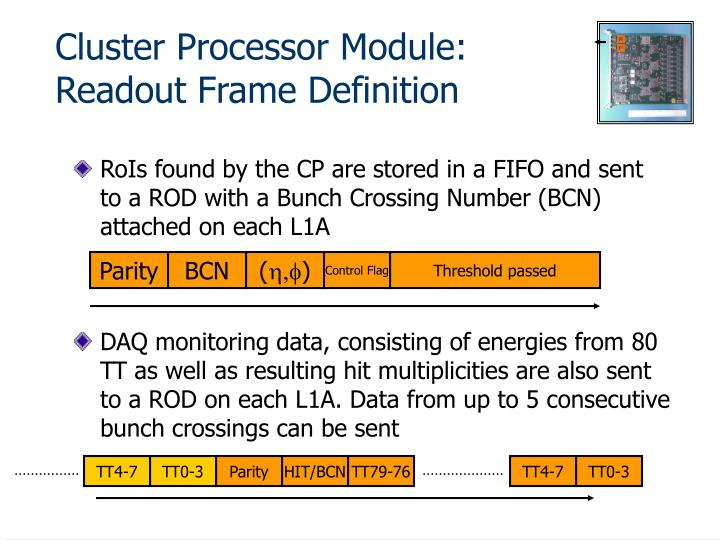 Cluster Processor Module: Readout Frame Definition