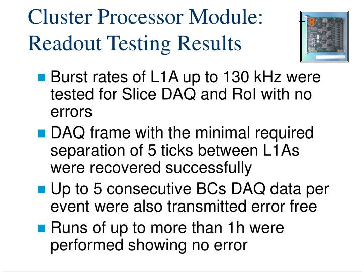 Cluster Processor Module: Readout Testing Results