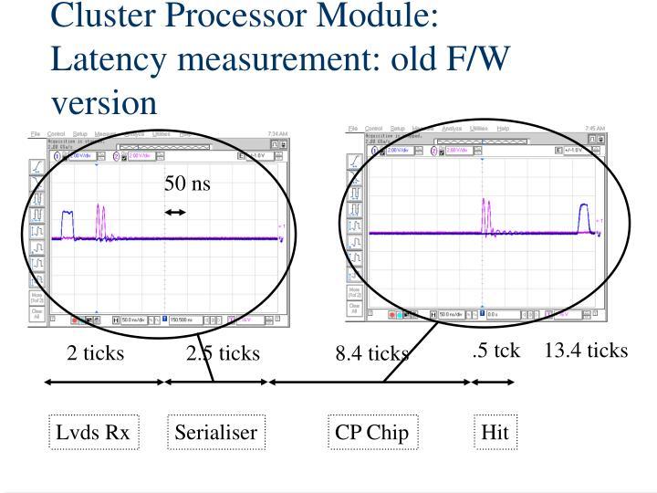 Cluster Processor Module: Latency measurement: old F/W version