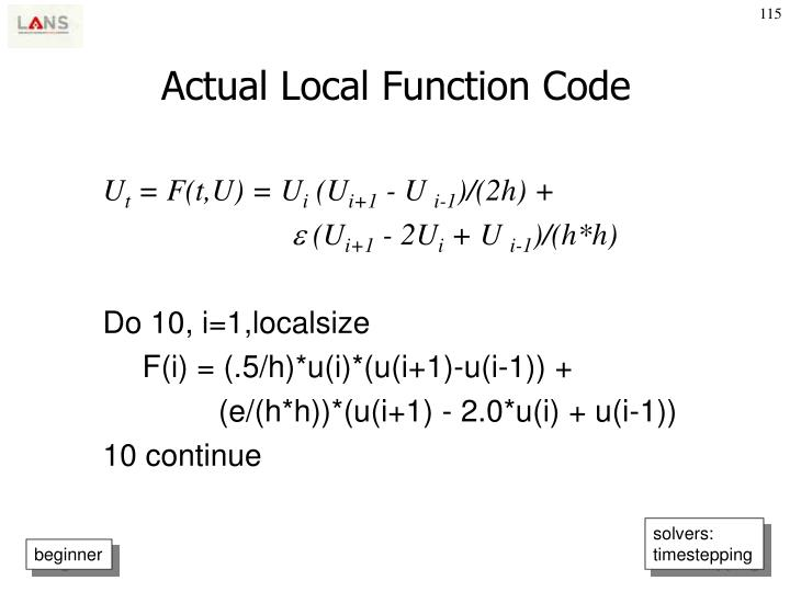 Actual Local Function Code
