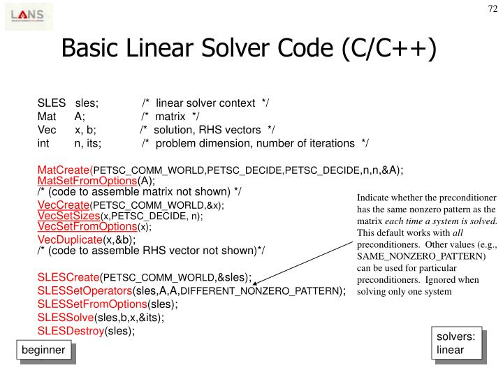 Basic Linear Solver Code (C/C++)