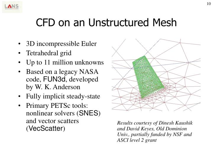 CFD on an Unstructured Mesh