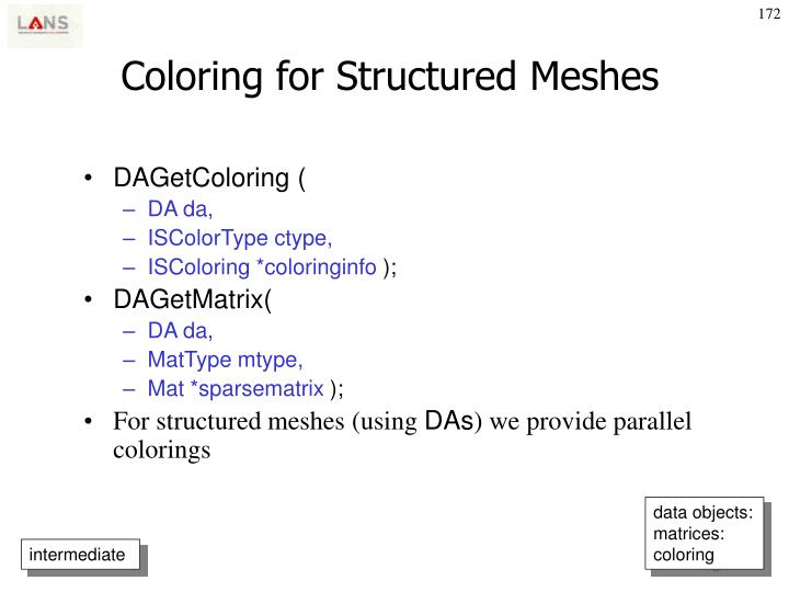 Coloring for Structured Meshes
