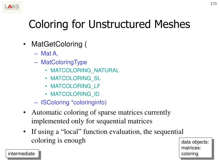 Coloring for Unstructured Meshes