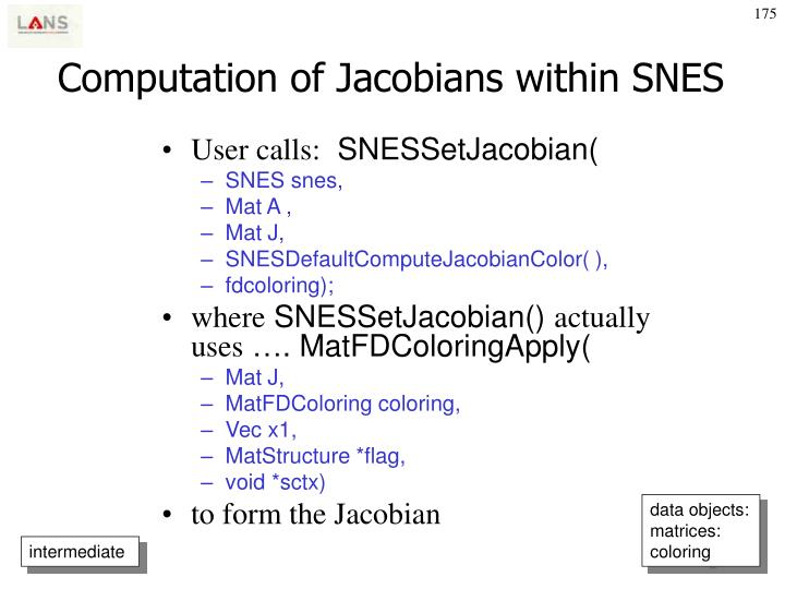 Computation of Jacobians within SNES
