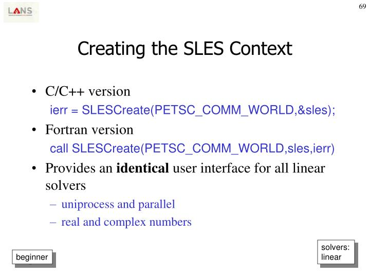Creating the SLES Context
