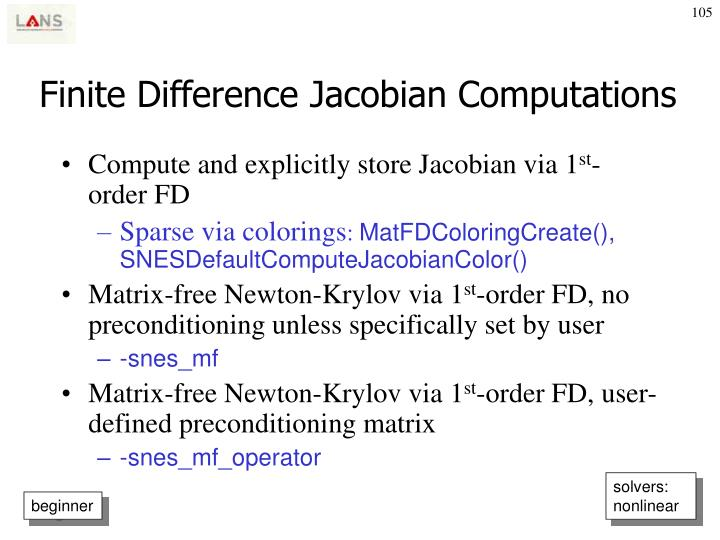 Finite Difference Jacobian Computations