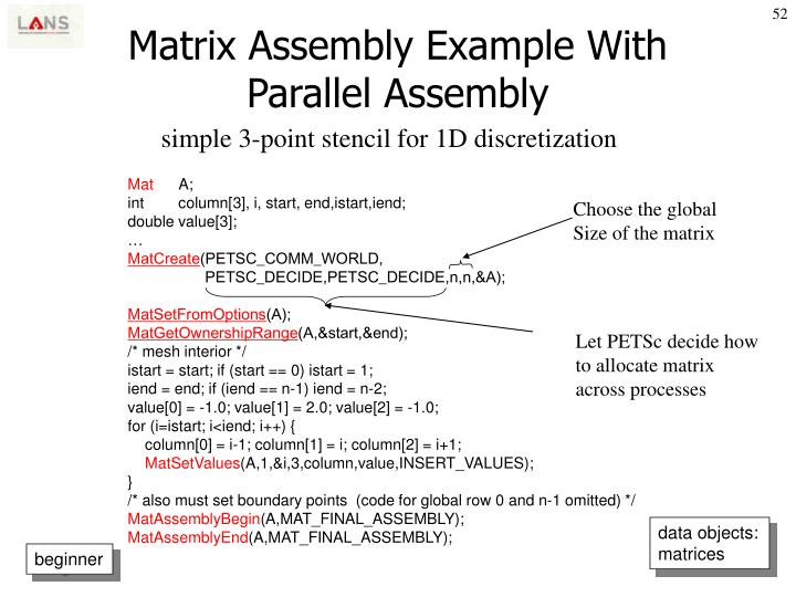 Matrix Assembly Example With Parallel Assembly