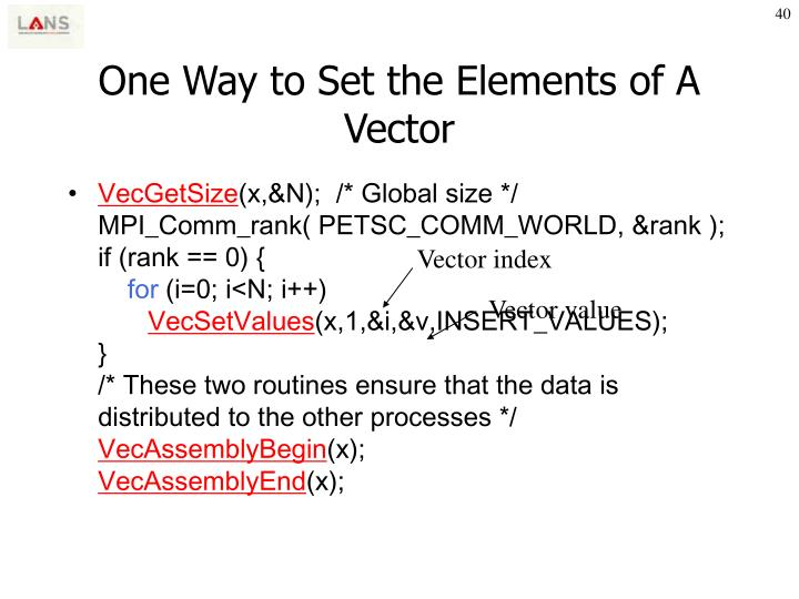 One Way to Set the Elements of A Vector