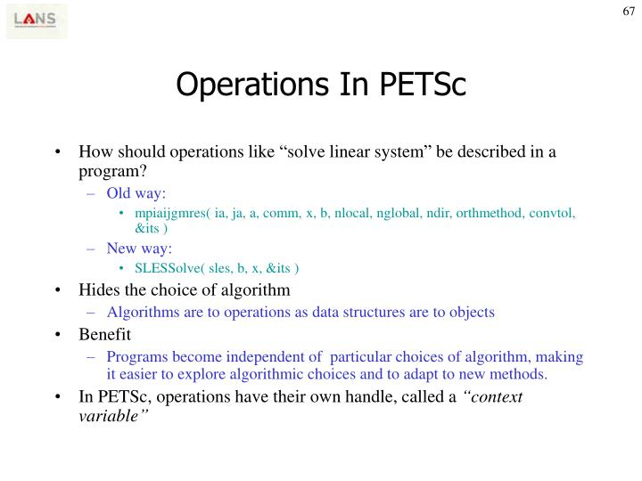 Operations In PETSc