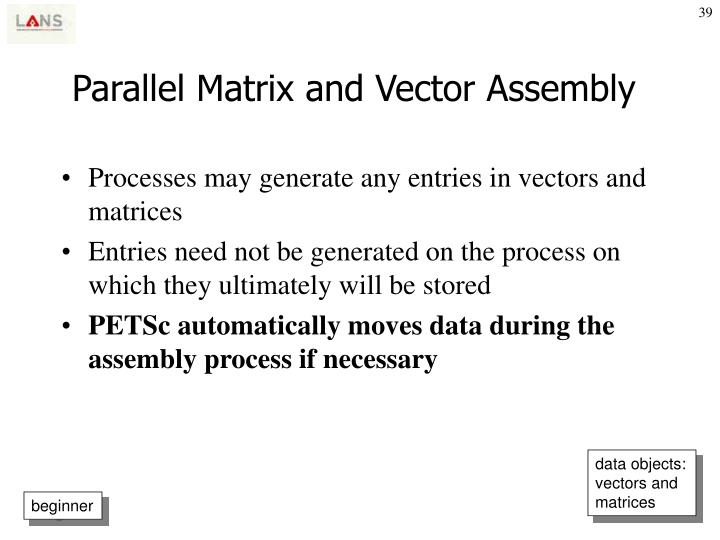 Parallel Matrix and Vector Assembly