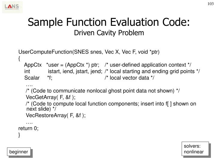 Sample Function Evaluation Code:
