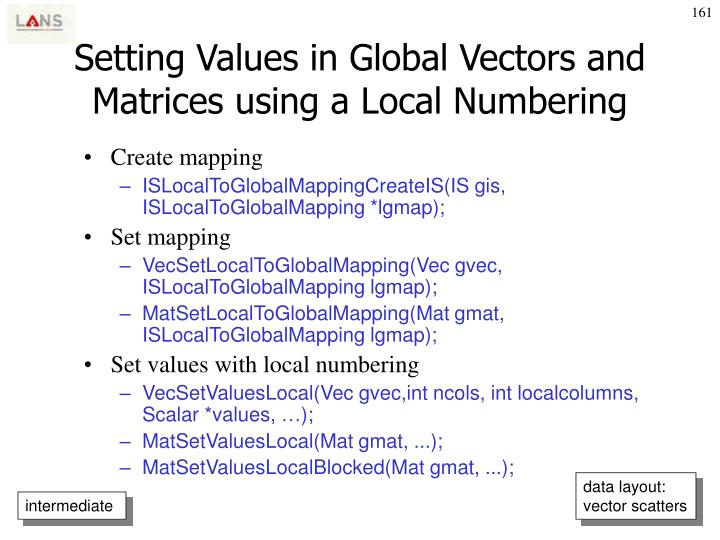 Setting Values in Global Vectors and Matrices using a Local Numbering