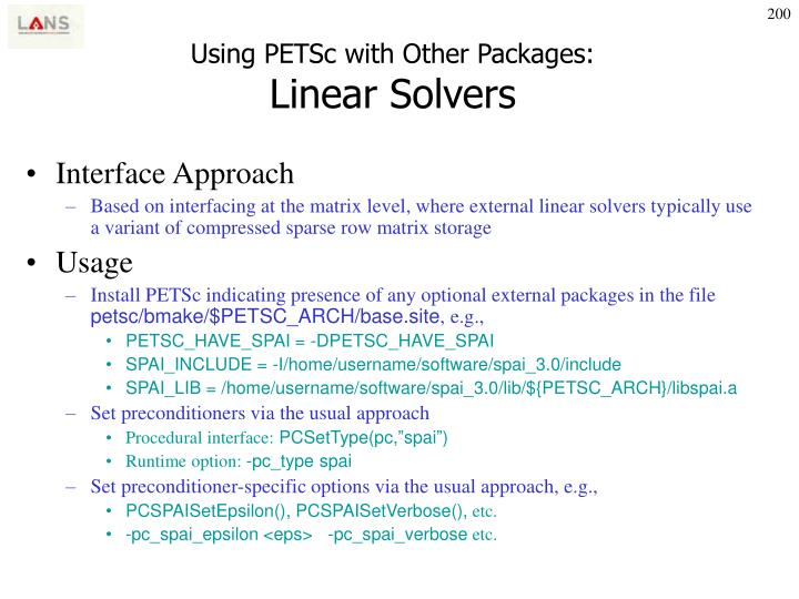 Using PETSc with Other Packages: