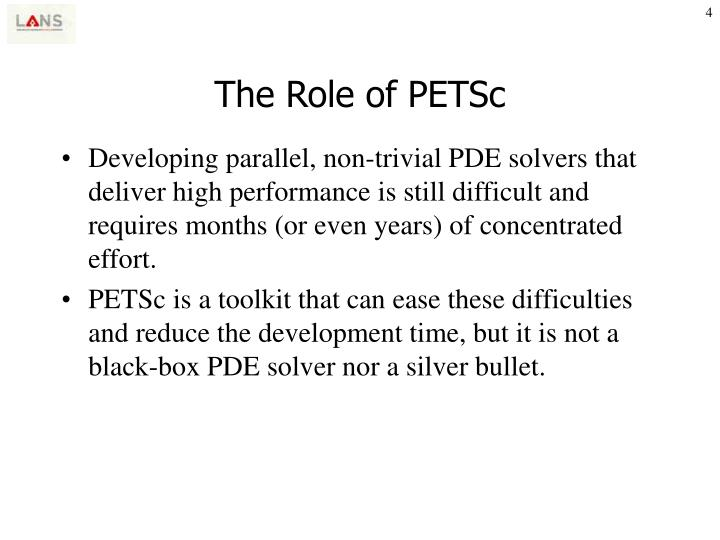 The Role of PETSc