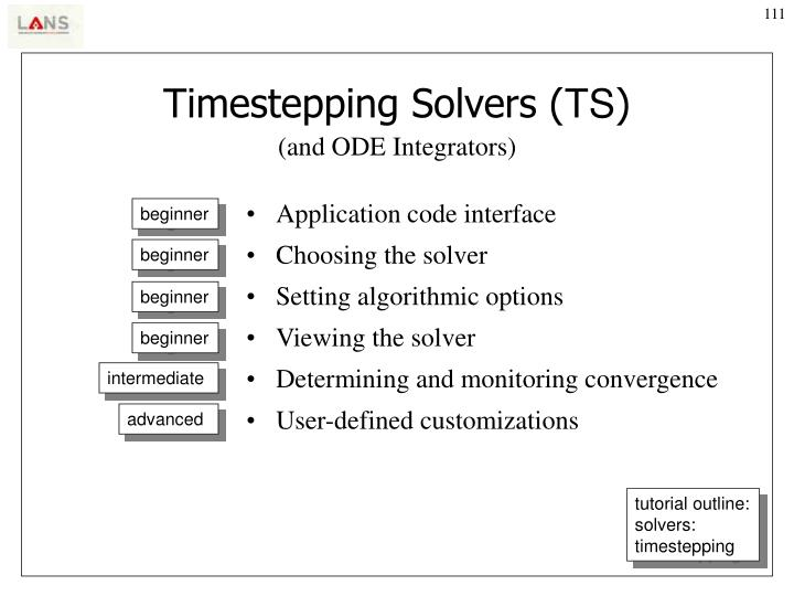 Timestepping Solvers (