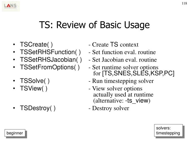 TS: Review of Basic Usage