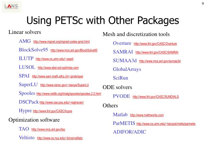 Using PETSc with Other Packages