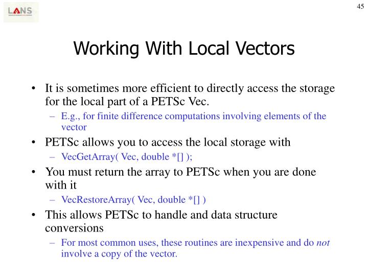 Working With Local Vectors