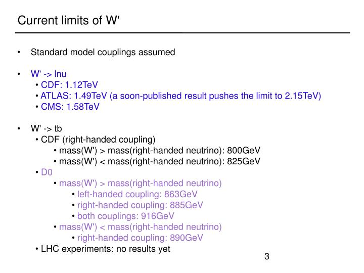 Current limits of W'